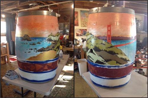 Stunning Golden Gate scene in progress on Art of Oak barrel.