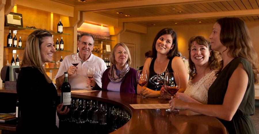 Wine tasters at Ridge Vineyards in Sonoma County's Dry Creek Valley.