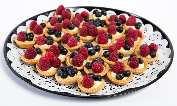 Fruit tarts on a platter