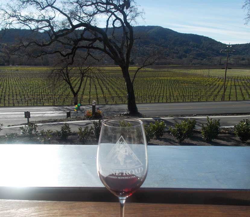 Wine Road glass with a vineyard view in the background