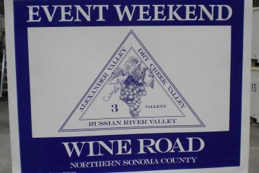 Event Weekend Wine Road sign
