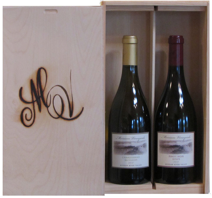 Merriam Vineyards offers wooden gift boxes