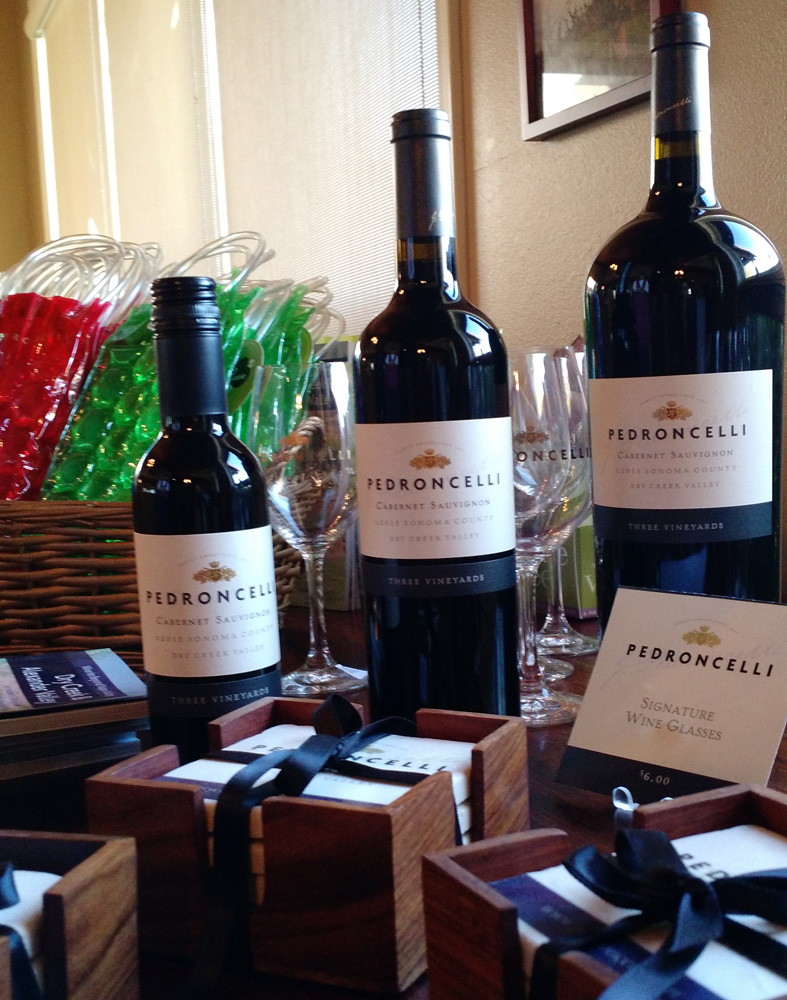 Pedroncelli offers Magnums (1.5L) and Half Bottles, (375ml) plus tumbled marble coasters