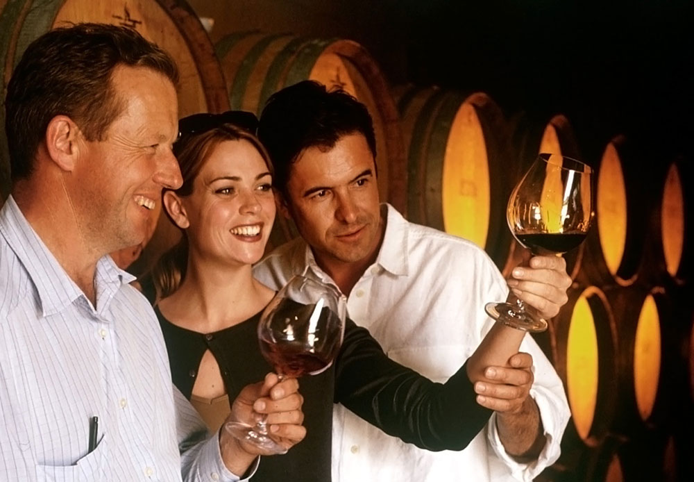Three people in a wine cellar looking at the wine in their glasses