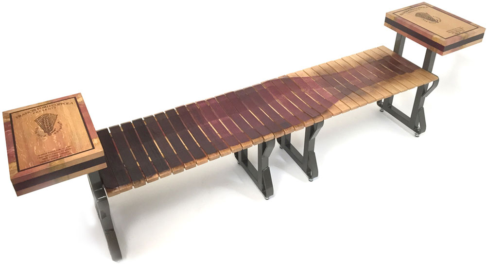 This stunning bench is displayed at Francis Ford Coppola Winery