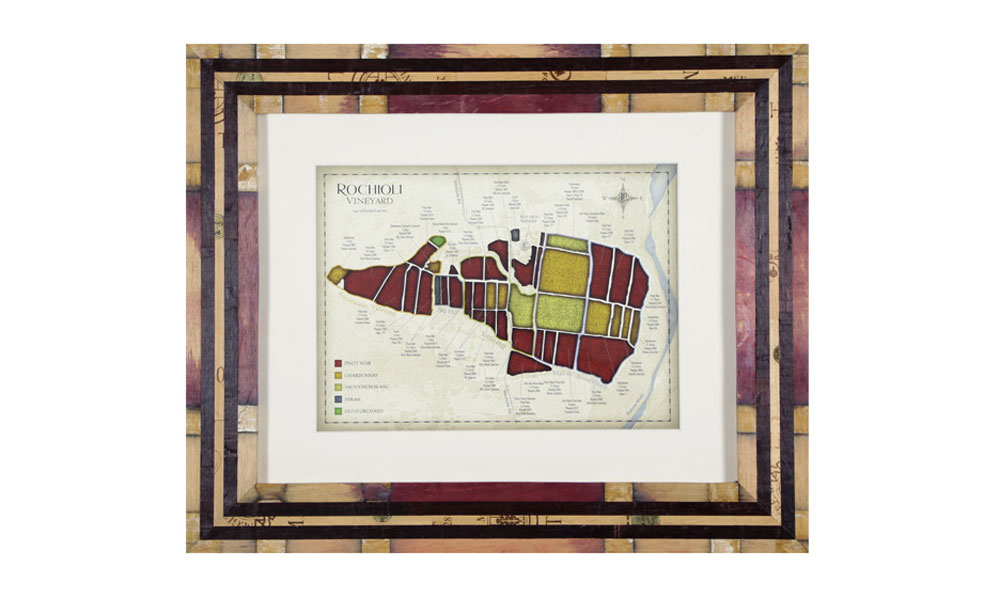 The frame can be viewed at the Rochioli tasting room