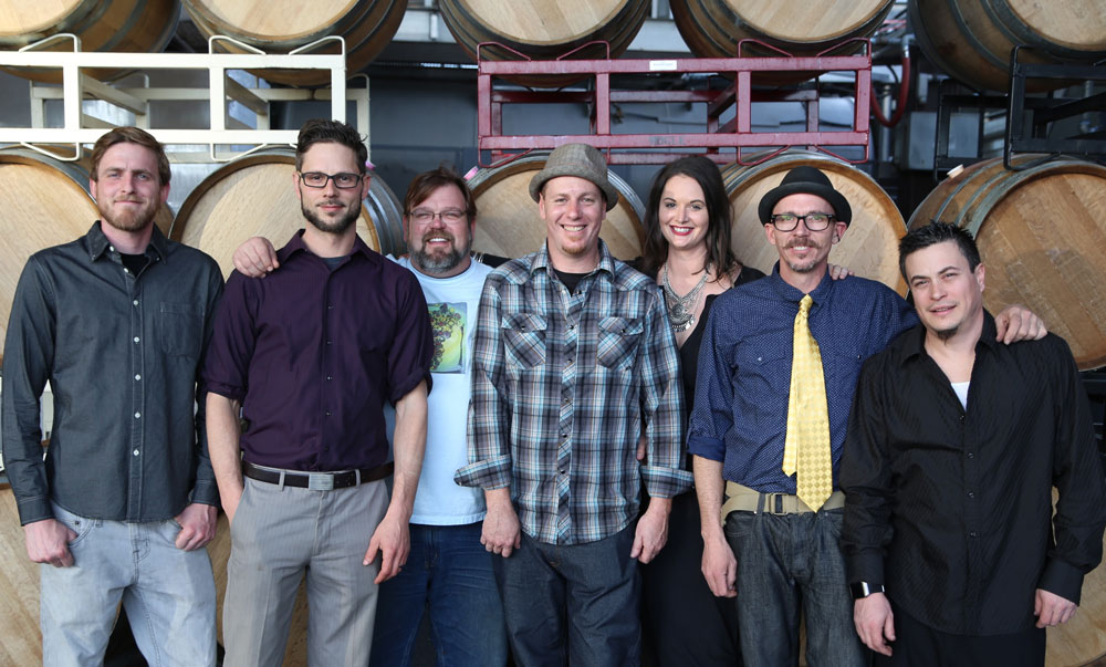 The folks from Sonoma Barrel Design and Decor who created the Art of Oak pieces.