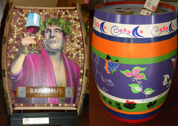 Bacchus Sonomacus by Jon Ton (left) and Colorful butterflies and flowers by Olivia Boyd (right)