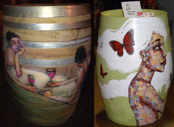 Women enjoying wine by Ryan Taylor (left) and Butterfly girl by Ursula Xanthe Young (right)