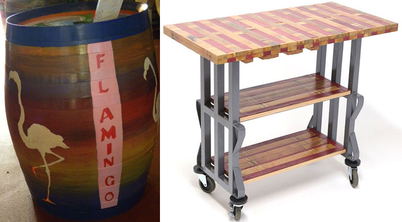 Flamingo by Olivia Boyd (left) and rolling kitchen cart by Sonoma Barrel Design and Decor (right)