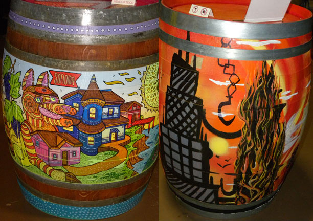Whimsical Barrel by Maxfield Bala (left) and Fire scene by Zach Rhodes (right)