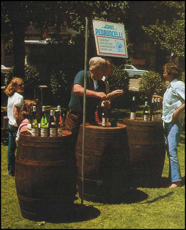 Pedroncelli Winery pouring at a wine festival in the 1970s