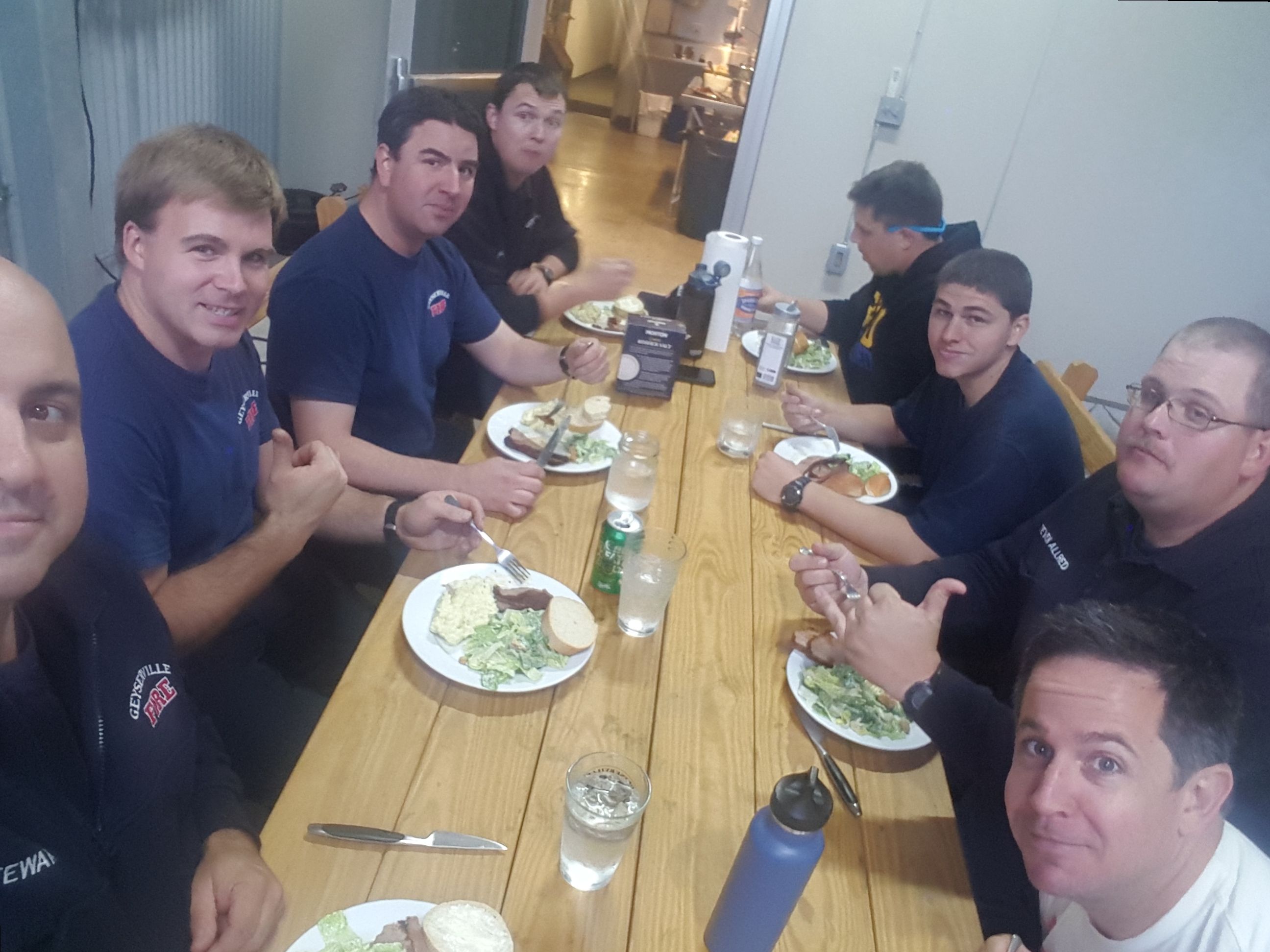 Geyserville fireman eating lunch