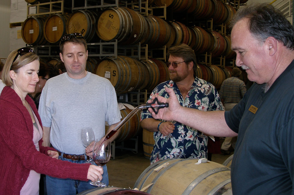 Happy Barrel Tasters at Balletto Vineyards and Winery