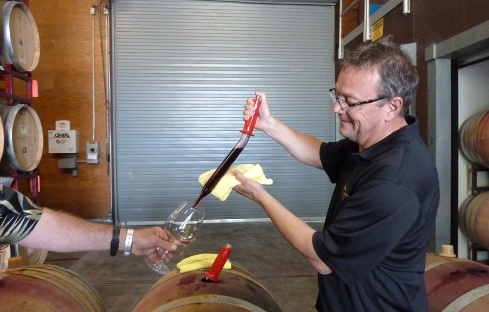 Winemaker shares a taste of Pinot Noir directly from the barrel by using a wine thief.