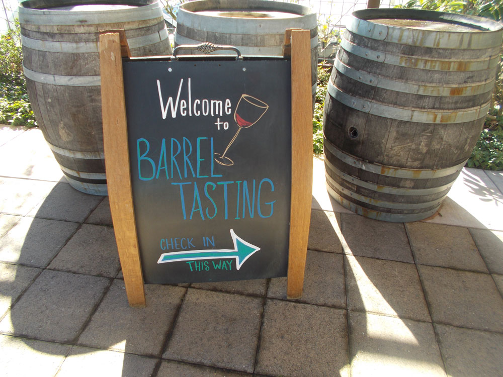 Welcome to Barrel Tasting along the Wine Road sign