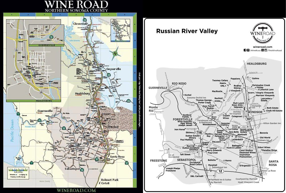 The printed map on the left is available by requesting it from the Wine Road. The map on the right is one of the downloadable maps available on the Wine Road website.