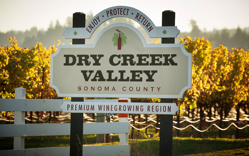 Dry Creek Valley welcome sign