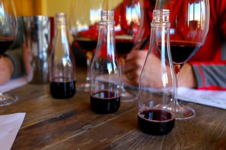 small bottles of sample wines for blending trials