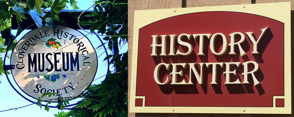sign for the Cloverdale Historical Museum