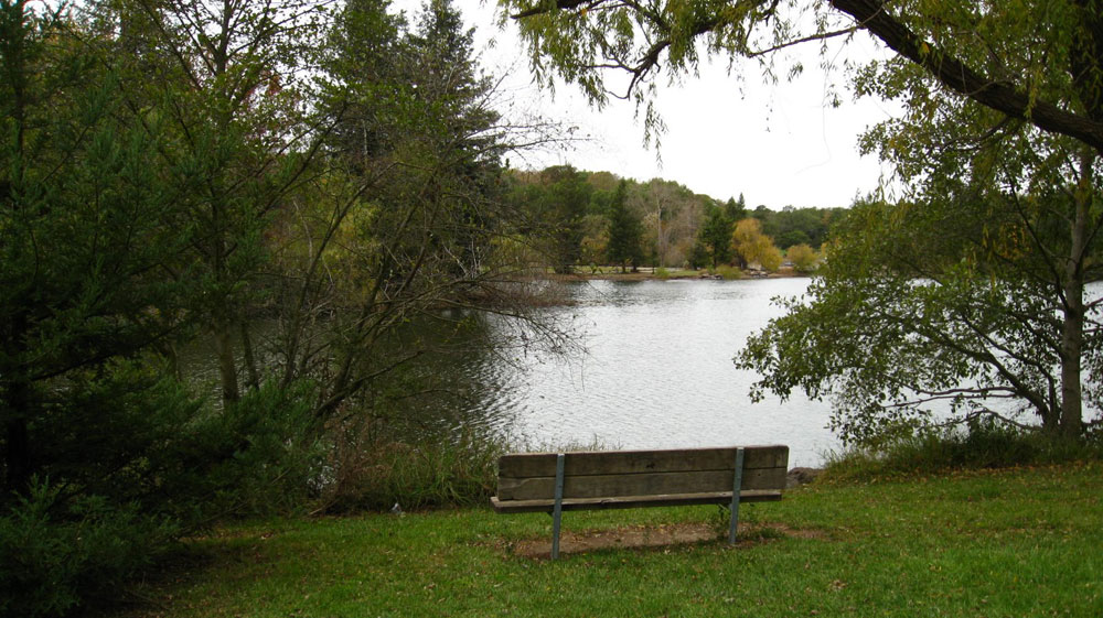 An inviting spot to view Spring Lake.