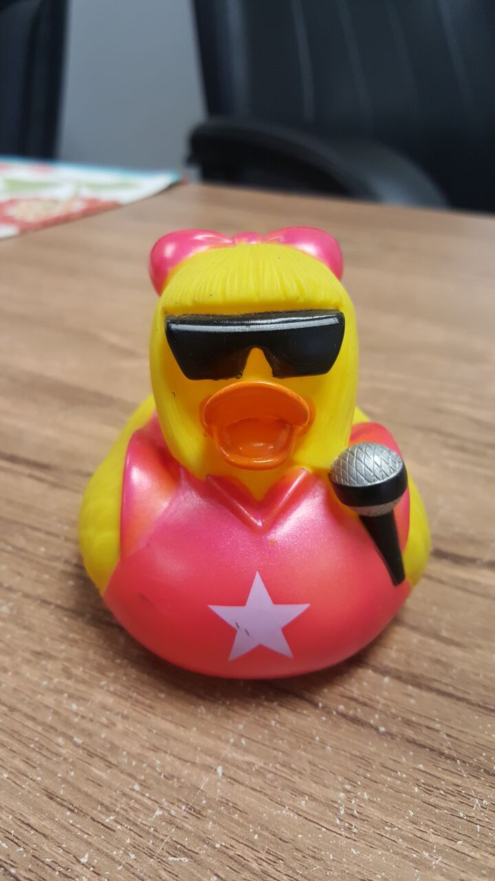 Rubber duckie with a microphone