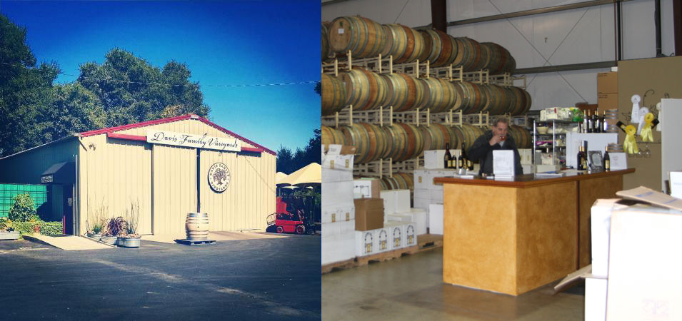 Davis Family Winery and Manzanita Creek are in different segments of Healdsburg, and each offer a different type of warehouse charm.