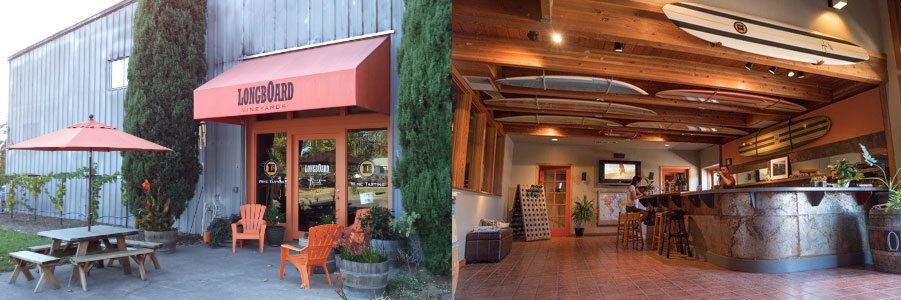 Enjoy surfing decor and laid back atmosphere at Longboard Cellars.