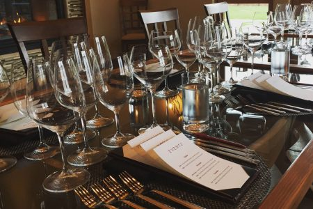 deLorimer Winery's private tasting lounge set up for a tasting appointment