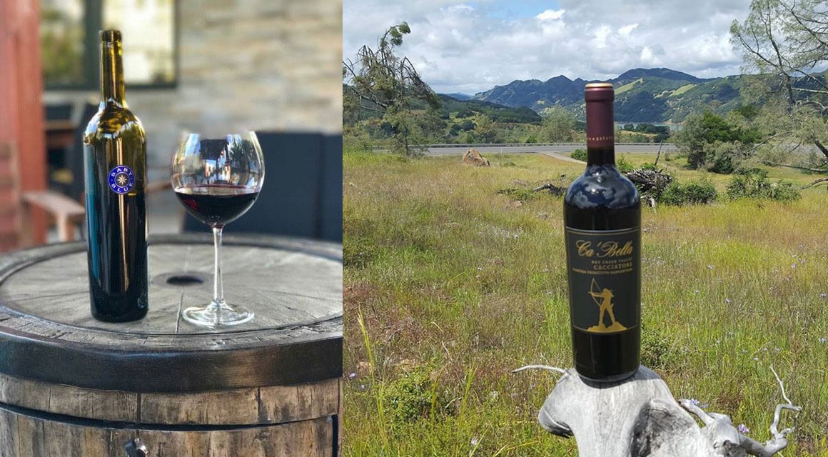 Compiled photo of a bottle of Blue Rock red wine and a bottle of Lago di Merlo