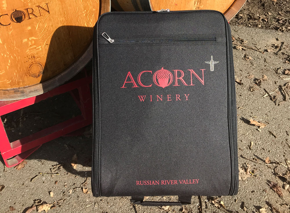 A Wine Check bag from ACORN Winery.