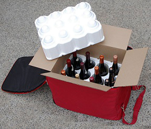 The interior view of a Wine Check bag.