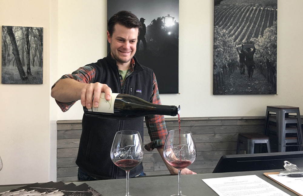 Winemaker & Owner Brooks Friedeman shares some of his Pinot Noir with guests.