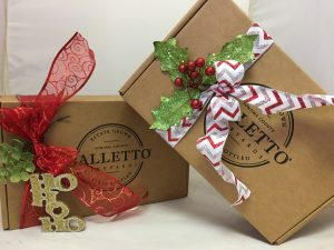 Balletto gift boxes tied with festive ribbons.