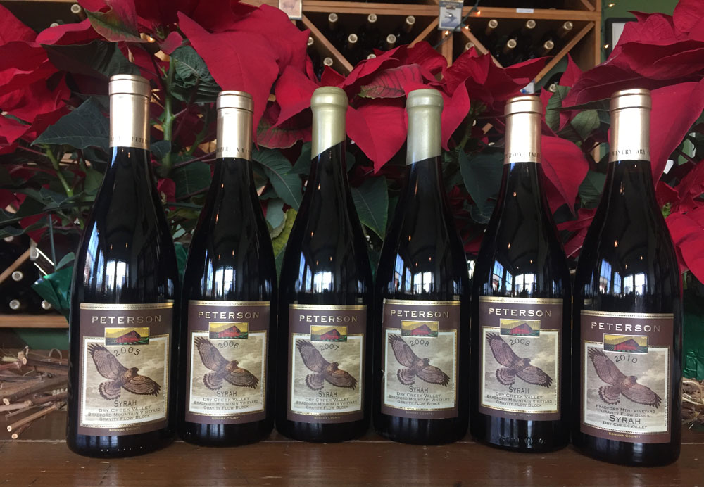 image of Peterson Winery Syrah verticals from 2005 through 2010