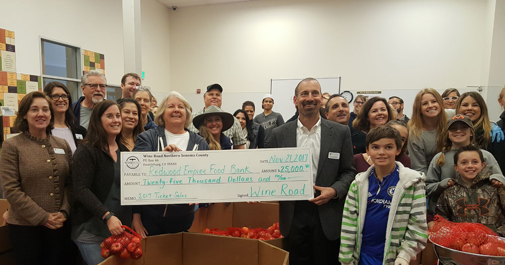 The Wine Road's 2017 donation to the Redwood Empire Food Bank.