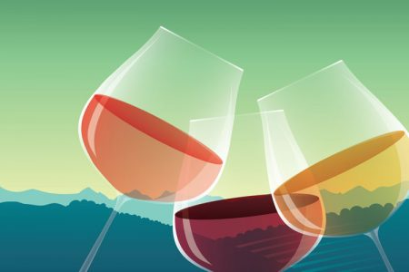 painting of three wine glasses with pink, white and red wine