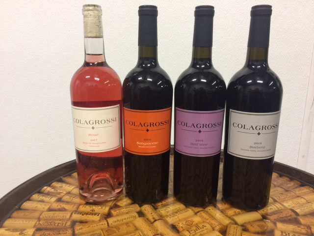 Four of Colagrossi's lesser-known Italian varietals including Ciliegiolo.