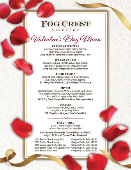 Fog Crest Vineyard Valentine's Day menu for 2018