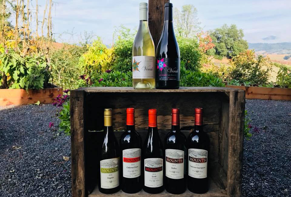 Mounts Family Winery's Rhone wines with a picturesque background