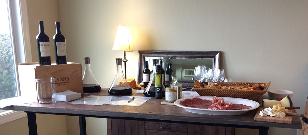 Hanna Winery's private area for club members with platter of food and special wines.