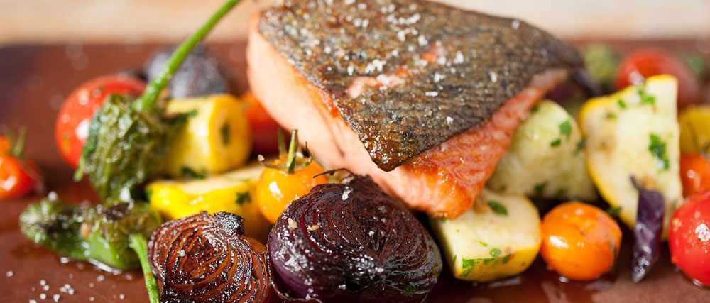 Fresh local Sonoma County salmon and vegetables