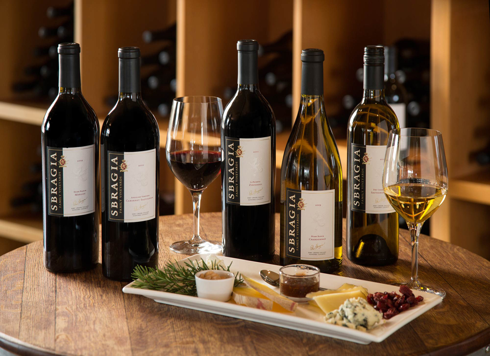 Sbragia Family Vineyards tasting and cheese plate