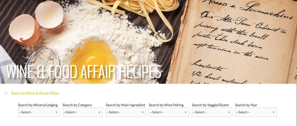 Wine & Food Affair Recipe database