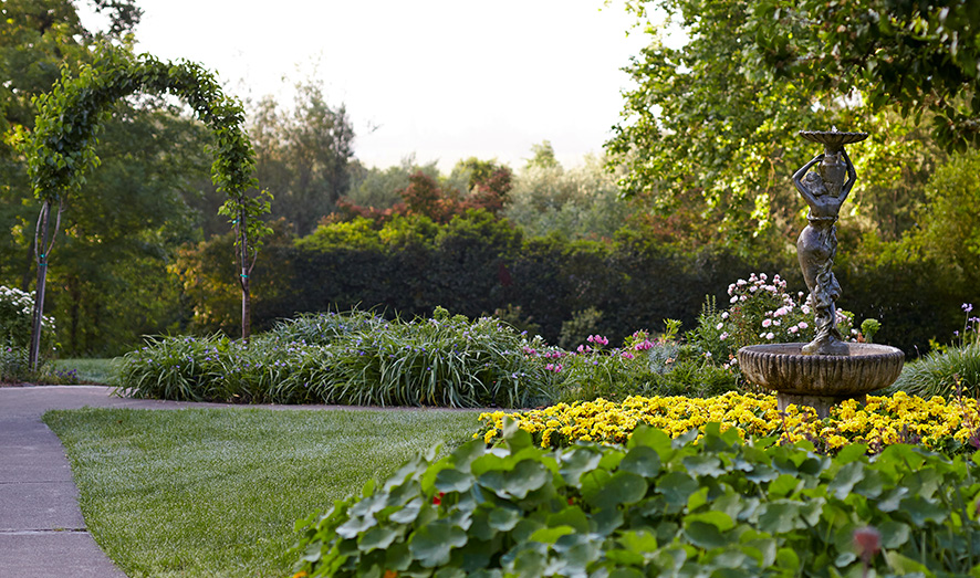 Imagine yourself strolling through the pathways among the lush gardens at the Madrona Manor.