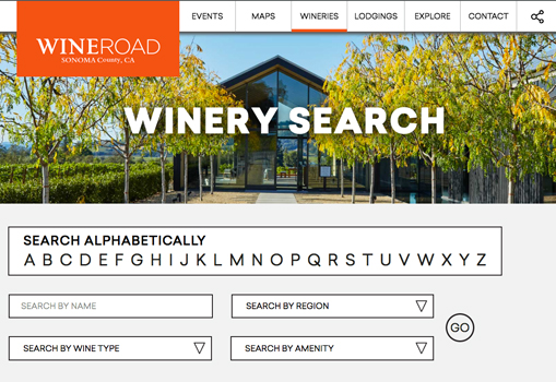 The winery search page is a great online tool to look by name, varietal, region or amenities.