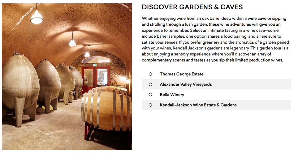 One of the many categories of experinces along the Wine Road: Discover Gardens and Caves