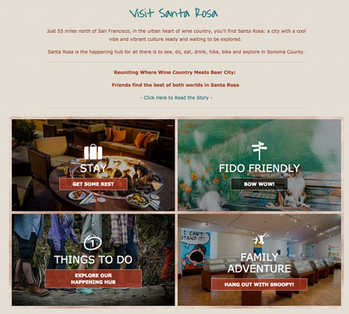 Image from the home page of Visit Santa Rosa