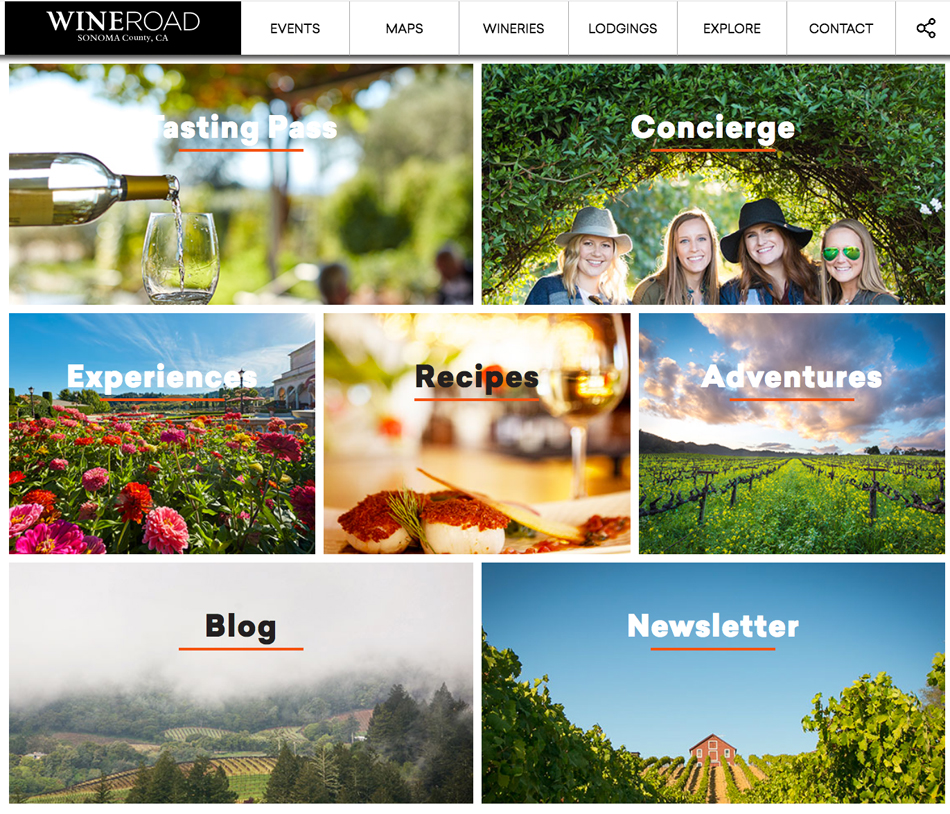 Section of WineRoad.com home page