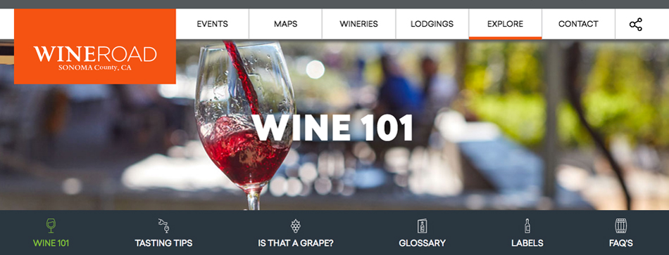 Image of Wine Road's Wine 101 website page
